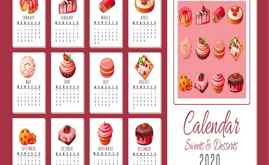 KDP POD 2020 Calendar Printable Sweets Desserts Color Greyscale 2 Sets