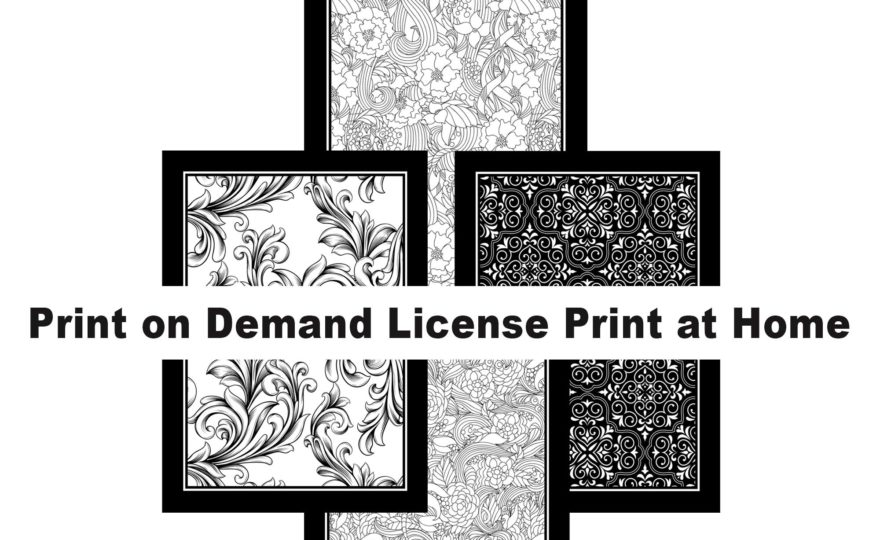 4 Pack Black Framed Coloring Page Backgrounds Midnight Version 1-4