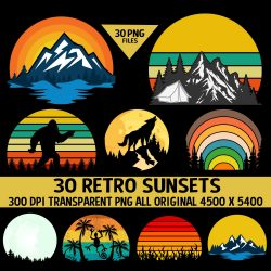 30 Retro Sunsets PNGs Mega Pack #3