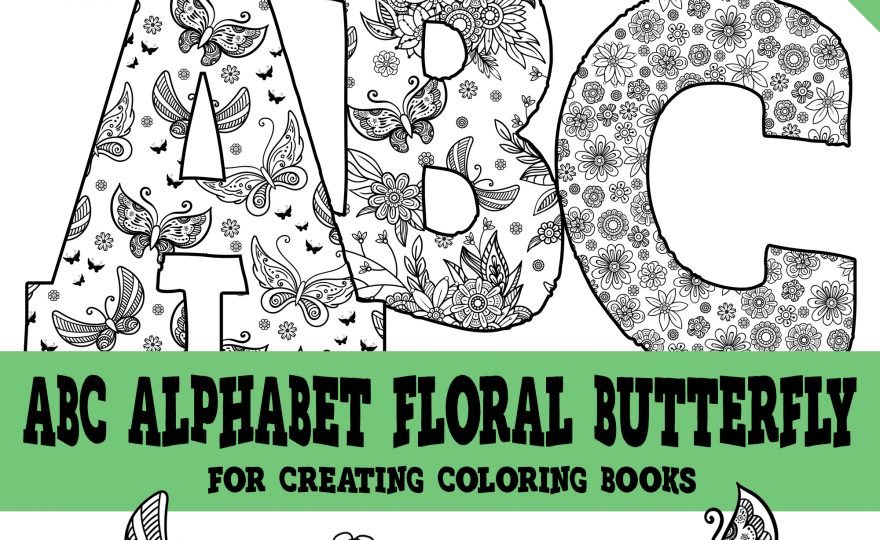 KDP Alphabet Floral Butterflies ABC's Package For Coloring Books