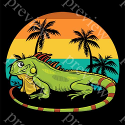 Iguana Retro Beach Sunset Print On Demand Package