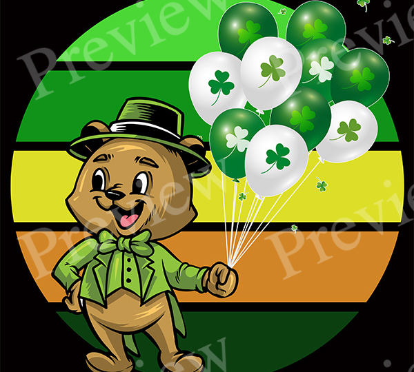 St. Patrick's Day Bear and Balloons Retro POD Package