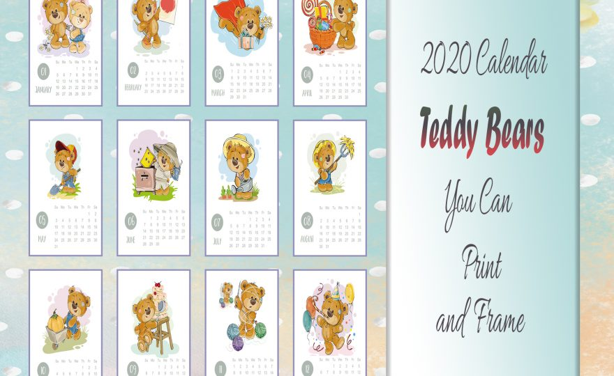 2020 Teddy Bears Printable Calendar 2 Sets