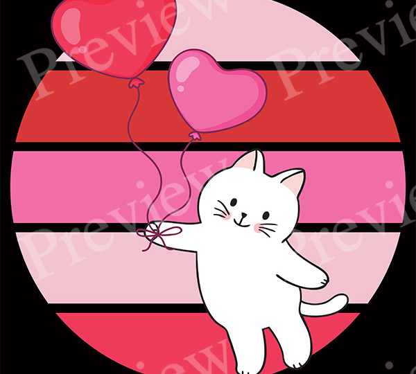Valentine Cat and Balloons Retro POD Package