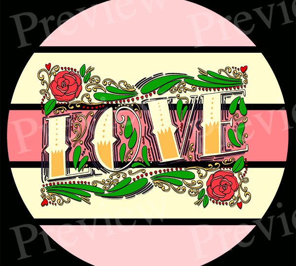 Love Vintage Valentine Text Print on Demand Package
