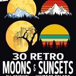 30 Retro Moons and Sunsets Graphics Package